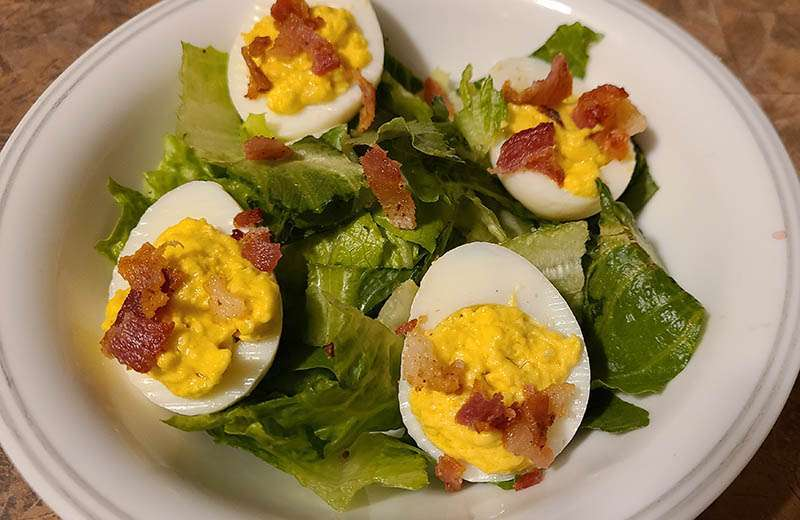 Mixed Green Salad with BLT Deviled Eggs